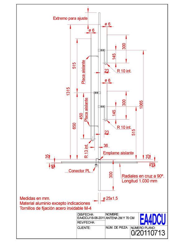 Antena bibanda para 144 Mhz y 430 Mhz.