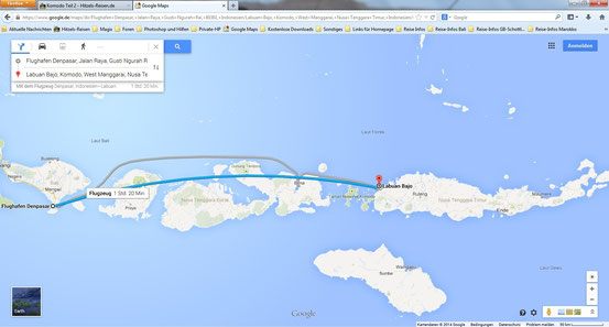 Flugstrecke Denpasar - Labuan Bajo - Karte von Google Maps