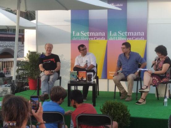 Presentació de novetats juvenils a la Setmana. D'esquerra a dreta: Jordi de Manuel, Toni Mata, Alfred Sala i Mixa