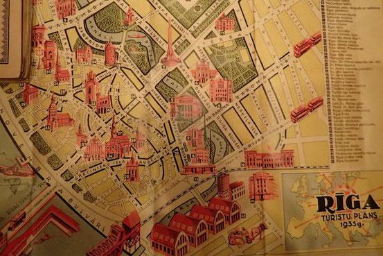 Alter Stadtplan im Museum für Stadtgeschichte und Seefahrt in Riga