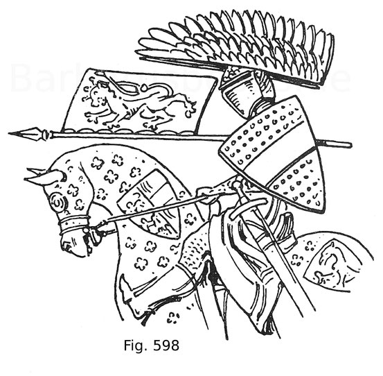 Fig. 598. König Ottokar von Böhmen als Herzog von Österreich (1230—1278) mit der Rennfahne, auf einem Siegel im k. k. Staatsarchiv zu Wien. Nach Sava.