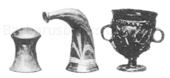 Becher und Trinkhorn der Merowinger Periode