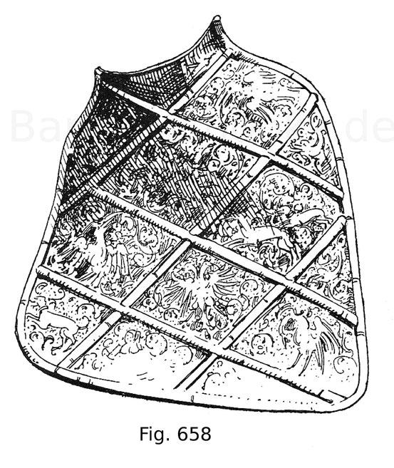 Fig. 658. Tartsche für das Realgestech mit schwarz geätzten Verzierungen in den Rautenfeldern. Deutsch. Um 1550.