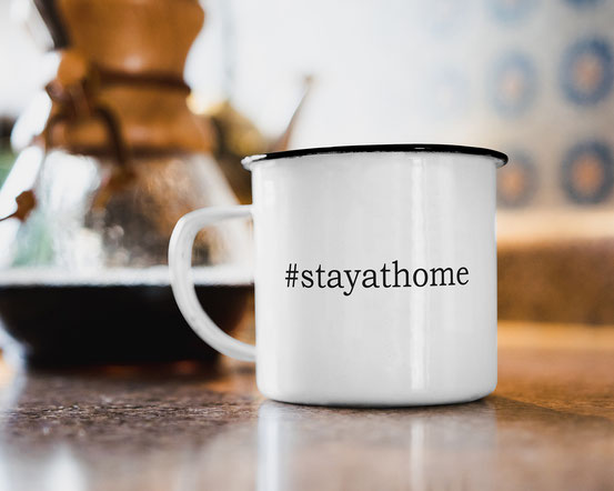 Emaille Becher #stayathome corona