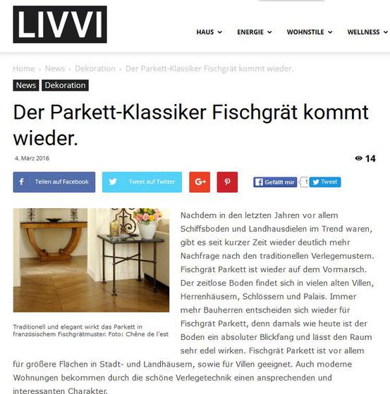 Veröffentlichung S. Fischbacher Living auf der Homepage LIVVI