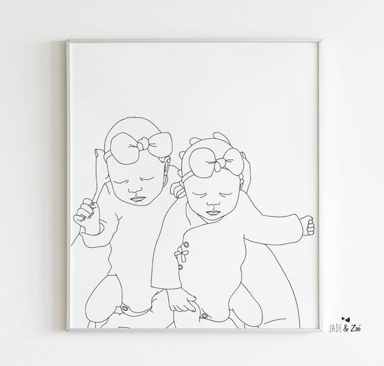 Portrait bébé enfant décoration murale souvenir illustration cadeau naissance shower anniversaire