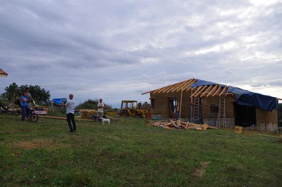 Visite de la construction d'une maison écologique à Lavaur (Tarn en Midi-Pyrénées) - 29 septembre 2014