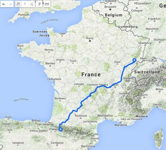De Couthenans au Col du Somport 1300 km et 17 km de montées