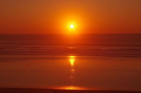 Couché de soleil sur l'Atlantique (vers Lacanau, Gironde) - 5 octobre 2014
