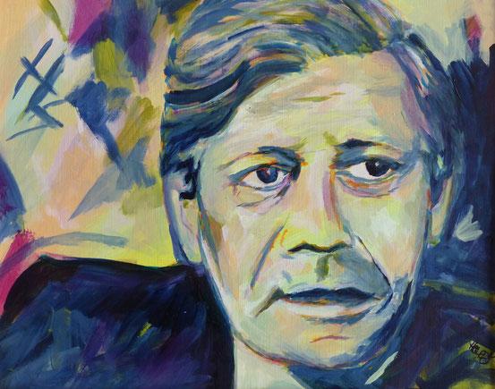 Helmut Schmidt, Acryl auf Papier