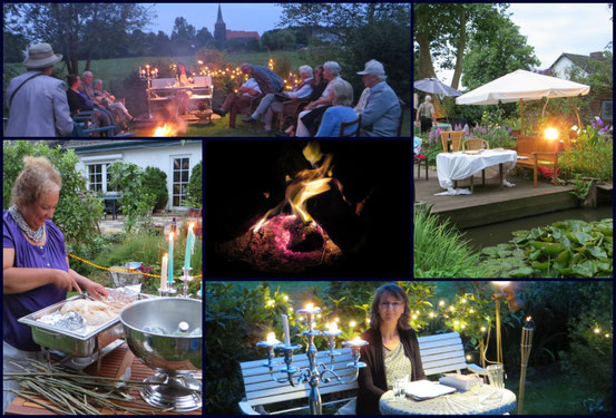 Nacht-Lesung im Garten der Galerie Cavissamba von Leni Rieke in Haselau am 25. Juli 2014
