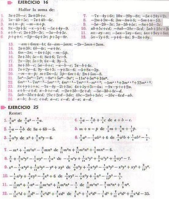 Algebra de Baldor - ejercicio 16 y 25 - pagina 43 y 52