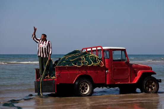 Moderner Fischfang à la Omani: Das riesige Netz wird von  mehreren Jeeps aus dem Meer gezogen.