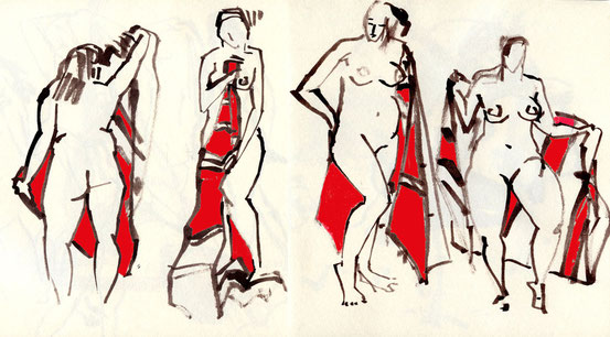 ... exercise at noon - 4 x 2 minute sketches ...