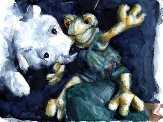 ... polar bear and frog ...