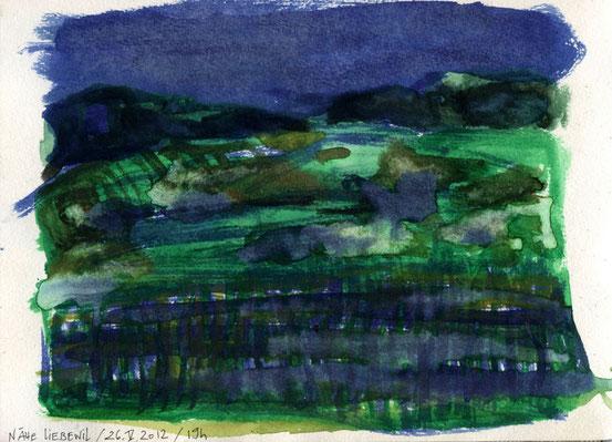 Night falling over spring landscape