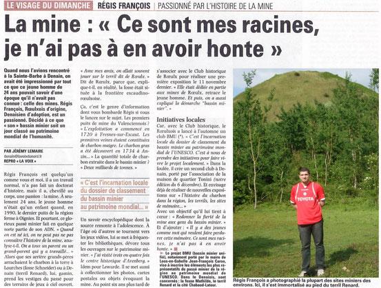LA VOIX DU NORD DU 8 JANVIER 2012. ( POUR AGRANDIR CLIQUET SUR l'ARTICLE)