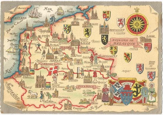 Carte postale représentant les anciennes provinces du Nord de la France.