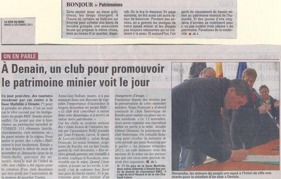 LA VOIX DU NORD DU 06 DECEMBRE 2011. LE CLUB DE DENAIN A ETE CRéé EN JUILLET 2011. A CETTE éPOQUE IL FUT PRéVU POUR LA RENTRéE DE SEPTEMBRE D'ORGANISER UNE CéRéMONIE EN MAIRIE. MALHEURESEMENT LES MULTIPLES REPORTS NOUS ONT MENéS à LA SAINTE-BARBE...