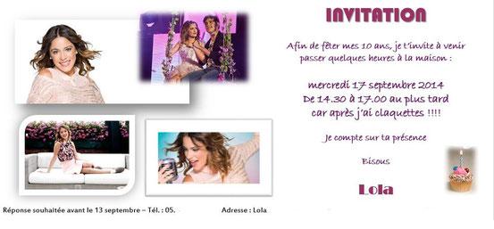 Carton d'invitation Anniversaire Petite Fille - Créa Au Fil des Idées - Septembre 2014