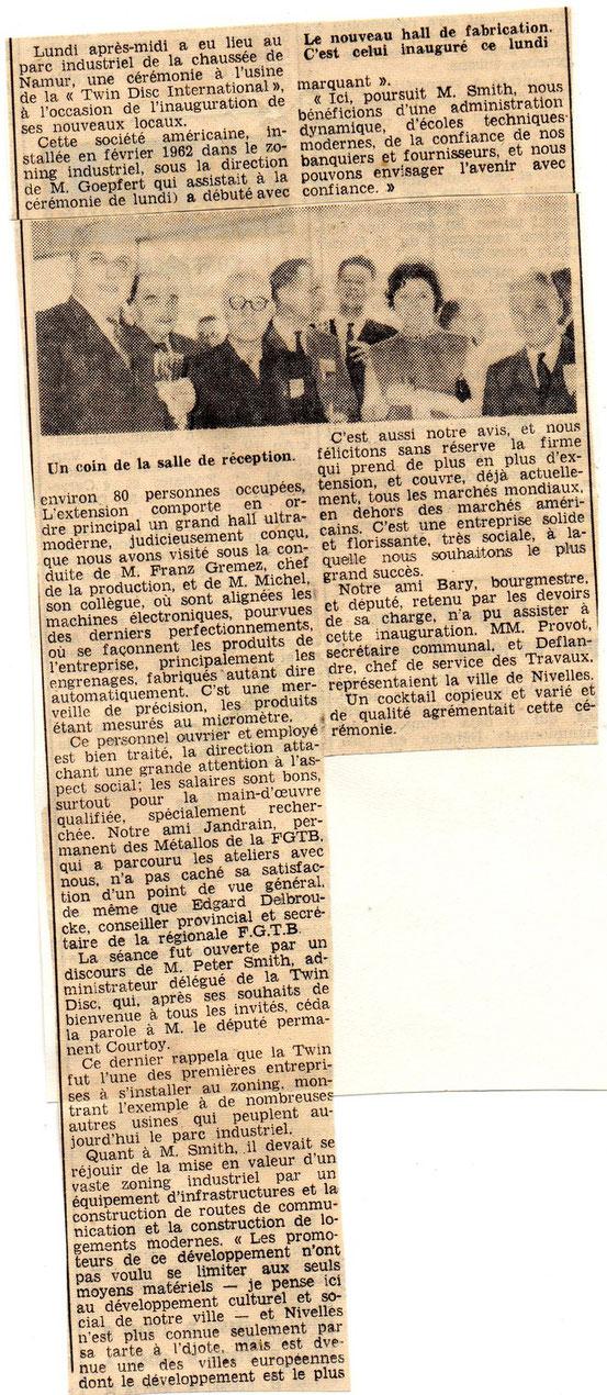 """article paru dans le journal """"Le Peuple"""""""