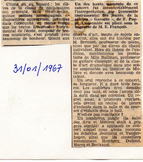 """Article paru dans """"Le Peuple"""" le31/01/1967"""