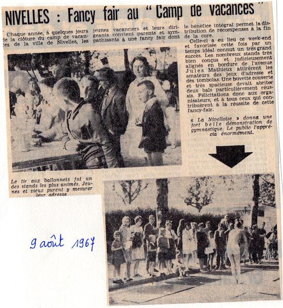 """Article paru dans le journal """"Le Peuple"""" du 9/08/1967"""