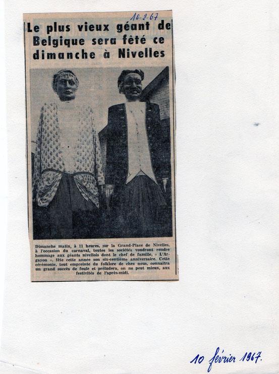 """Article paru dans le journal """"Le Peuple"""" du 10 février 1967"""