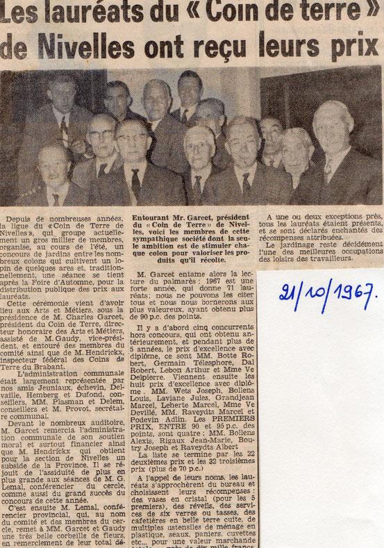 """Article paru dans le journal """"Le Peuple"""" du 21/10/1967"""