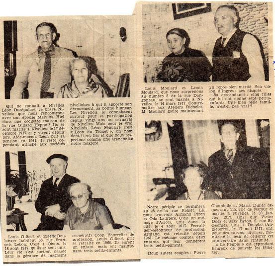 """Article paru dans le journal """"Le Peuple"""" du 6/9/1967"""