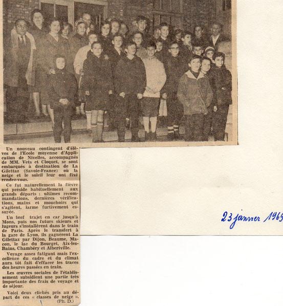 """Article dans """"Le Peuple"""" du 23 /01/1969"""