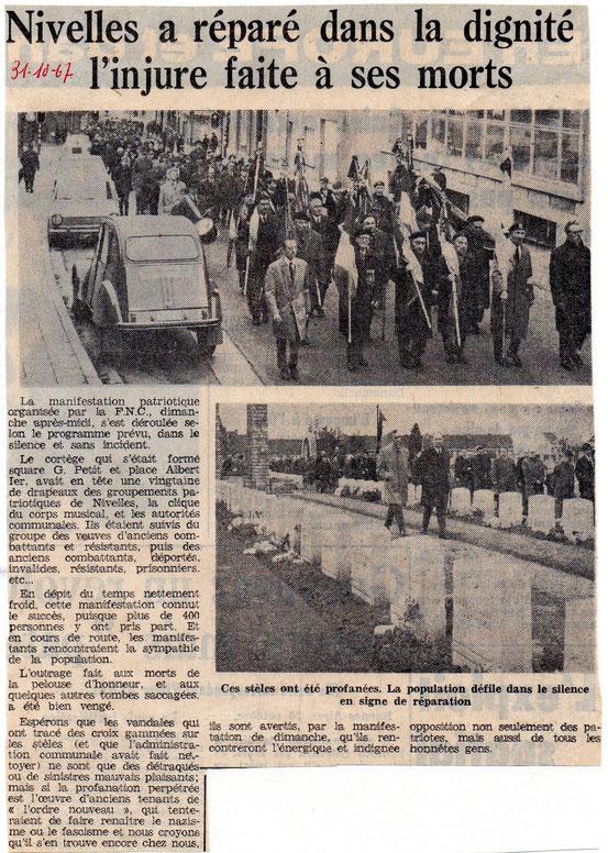 """Article paru dans le journal """"Le Peuple"""" du 31/10/1967"""