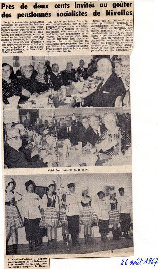 """Article paru dans le journal """"Le Peuple"""" du 26/8/1967"""