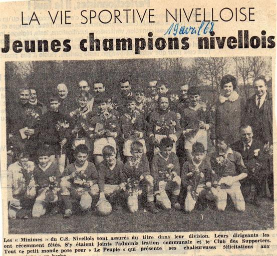"""article paru dans """"Le Peuple"""" le 18/4/1968"""