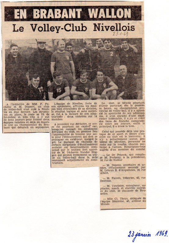 """Article paru dans le journal """"Le Peuple"""" du 23 janvier 1969"""