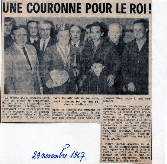 """Article paru dans le journal """"Le Peuple"""" du 29 novembre 1967"""