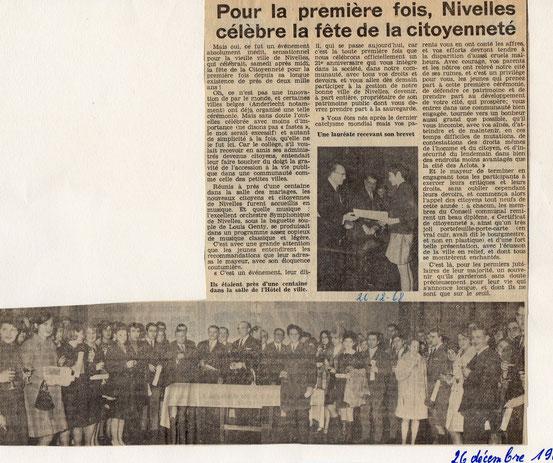 """Article paru dans le journal """"Le Peuple"""" du 26/12/1968. Cliquez pour pouvoir lire , toutes les photos sont agrandissables.."""