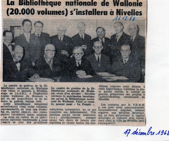 """La bibliothèque Nationale de Wallonie article paru dans """"Le Peuple"""" du 17/12/1968"""