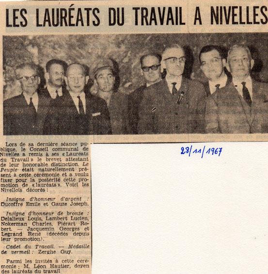 """Article paru dans le journal """"Le Peuple"""" du 28/11/1967"""
