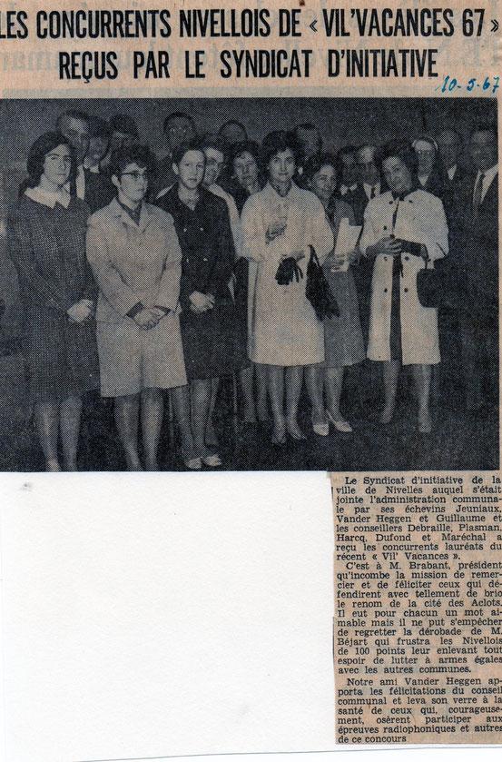 """Article paru dans le journal """"Le Peuple"""" du 10/05/1967"""