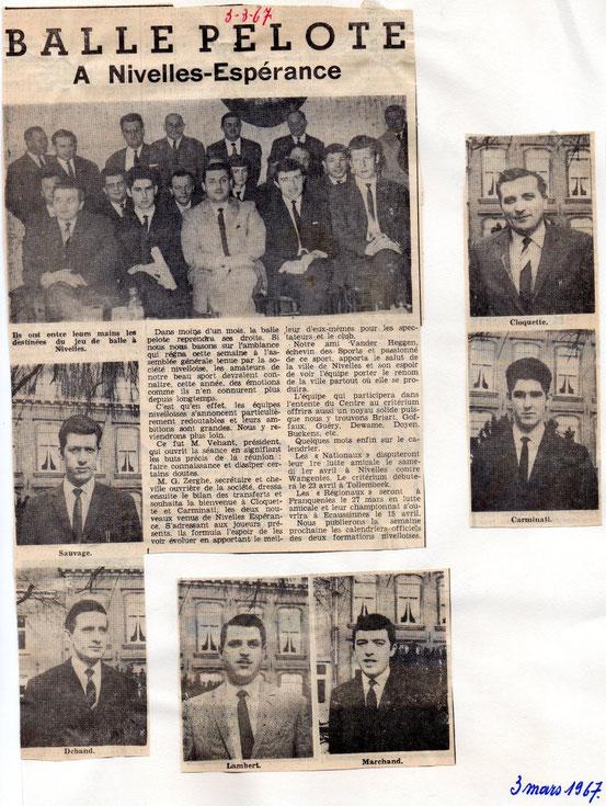 """Article paru dans le journal """"Le Peuple"""" du 3/03/1967..Pour agrandir la photo et le texte , il vous suffit de cliquer sur l'image.."""