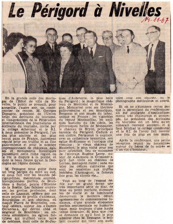 """Article paru le 14/11/1967 dans le journal """"Le Peuple"""""""