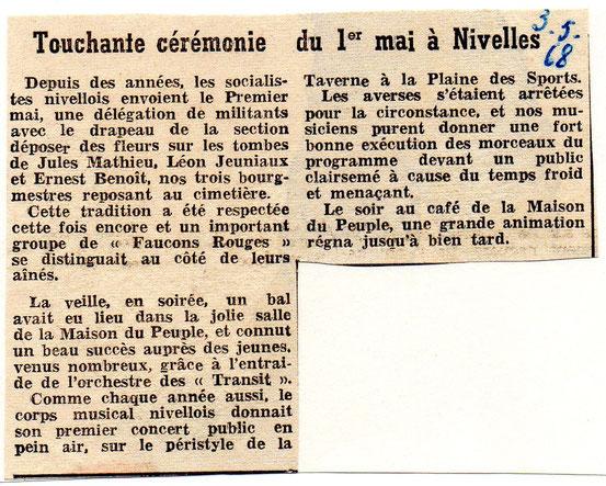 """Article paru dans le journal """"Le Peuple"""" du 3/05/1968"""