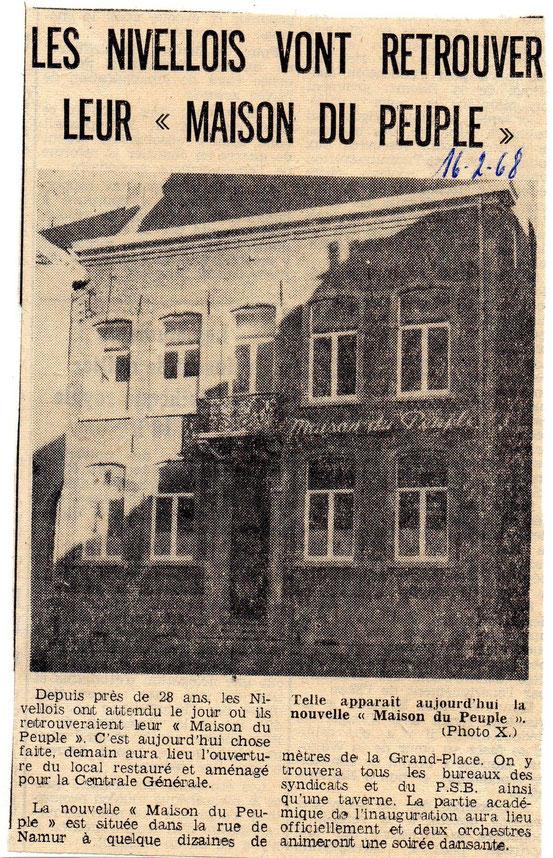 """Article paru dans le journal """"Le Peuple"""" du 16/02/1968"""