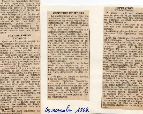 """Article paru dans le journal """"Le Peuple"""" du 30/11/1968"""