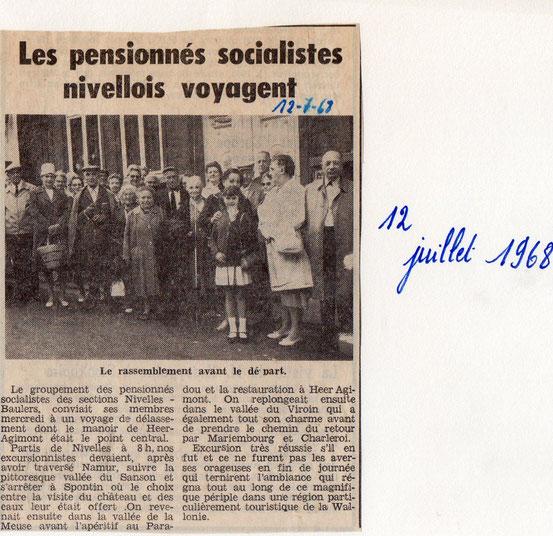 """Article paru dans le journal """"Le Peuple"""" du 12/7/1968"""