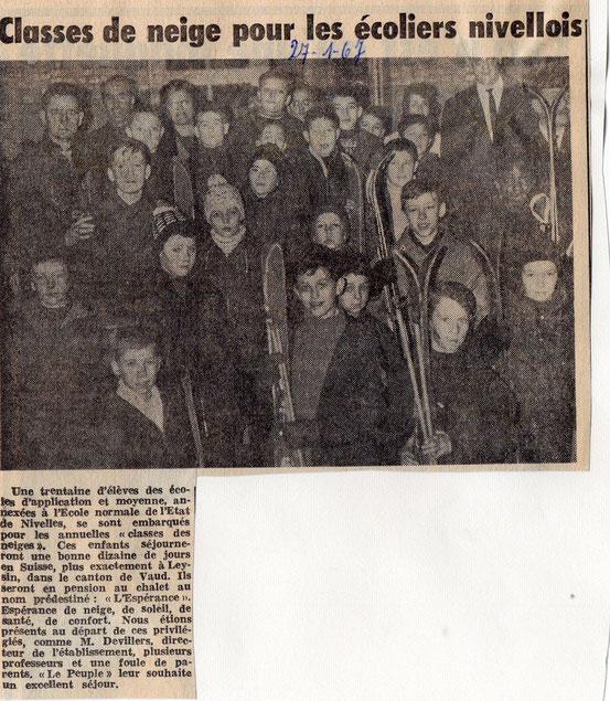 """Article paru dans le journal """"Le Peuple"""" du 27/01/1967"""