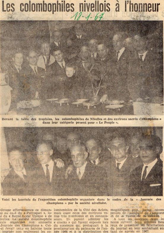 """Article paru dans le journal """"Le Peuple"""" du 18/01/1967"""