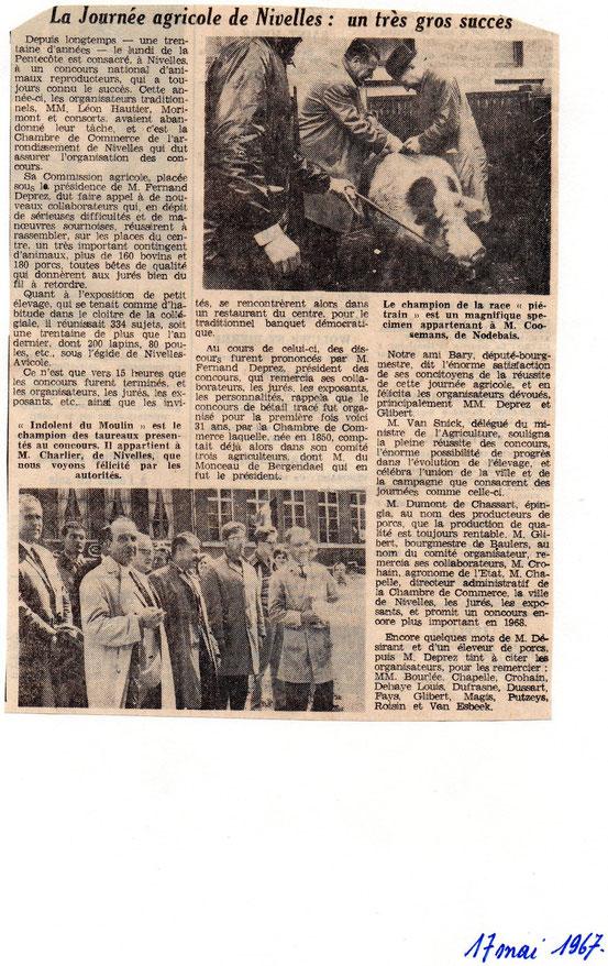 """Article paru dans le journal """"Le Peuple"""" du 17 mai 1967"""