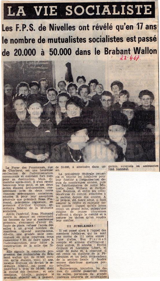 """Article paru dans le journal """"Le Peuple"""" du 22/4/1967"""